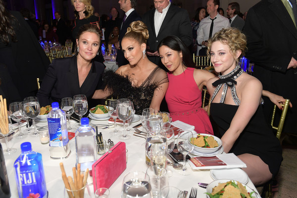FIJI Water At The 2019 IFP Gotham Awards [event,meal,party,dinner,fun,supper,lunch,nightclub,drink,banquet,fiji water,constance wu,lili reinhart,jennifer lopez,julia stiles,ifp gotham awards,l-r,cipriani wall street,new york city]