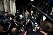 Mark Stephens (C), a lawyer for Julian Assange, arrives at the Royal Courts of Justice on December 16, 2010 in London, England. Mr Assange has been granted conditional bail, however he remains in police custody pending an appeal by Swedish prosecutors at the High Court.