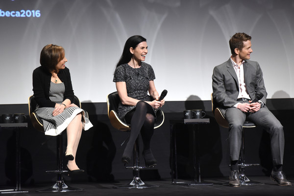 Tribeca Tune in: 'The Good Wife' [the good wife,performance,event,fashion,sitting,talent show,design,stage,conversation,photography,performing arts,julianna margulies,matt czuchry,michelle king,stage,l-r,bmcc john zuccotti theater,new york city,tribeca tune in]