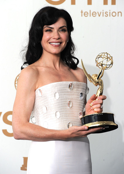 Press Room Shots from the Emmy Awards [outstanding lead actress in a drama series,the good wife,dress,photography,waist,muscle,photo shoot,fashion accessory,cocktail dress,metal,julianna margulies,primetime emmy awards,room,press room,nokia theatre l.a. live,los angeles,california,annual primetime emmy awards]