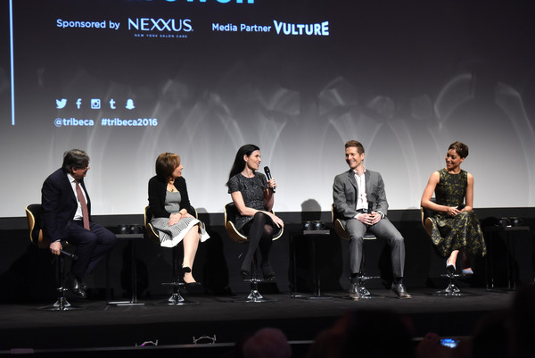 Tribeca Tune in: 'The Good Wife' [the good wife,event,performance,design,stage,convention,music,stage equipment,talent show,performing arts,team,julianna margulies,matt czuchry,cush jumbo,show creators,michelle king,robert king,stage,l-r,tribeca tune in]