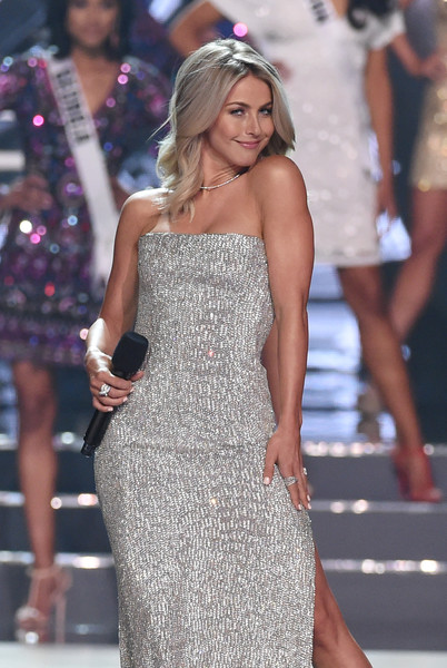 2016 Miss USA Competition - Show [fashion model,clothing,dress,shoulder,fashion,cocktail dress,leg,strapless dress,joint,long hair,julianne hough,actress,stage,las vegas,nevada,t-mobile arena,miss usa competition - show,pageant,miss usa]
