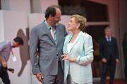 Luca Guadagnino poses with Julie Andrews before she is awarded the Golden Lion for Lifetime Achievement during the 76th Venice Film Festival at Sala Grande on September 02, 2019 in Venice, Italy.