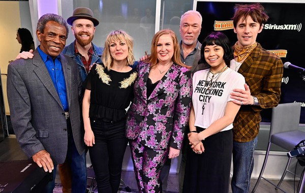 SiriusXM's 'On Broadway Curtain Call With The Cast Of Hadestown' [on broadway curtain call with the cast of hadestown,event,fashion,performance,team,fashion design,premiere,julie james,patrick page,anais mitchell,andre de shields,reeve carney,eva noblezada,l-r,new york city,siriusxm]