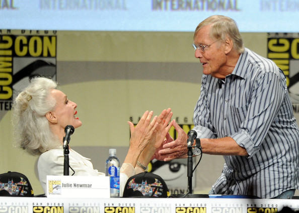 """Batman: The Complete Series"" DVD Release - Comic-Con International 2014 [batman: the complete series,news conference,spokesperson,event,comics,fiction,speech,actors,julie newmar,adam west,dvd,release - comic-con international,dvd release presentation,san diego convention center,california,comic-con international 2014]"
