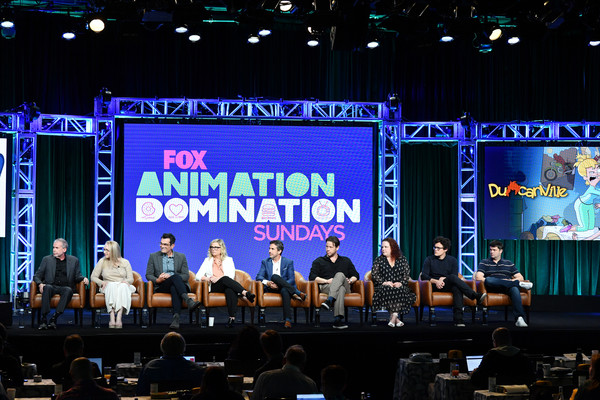 2019 Summer TCA Press Tour - Day 16 [summer tca press,stage,event,performance,convention,stage equipment,display device,auditorium,music,performing arts,music venue,julie scully,mike scully,ty burrell,emily spivey,christopher miller,phil lord,michael thorn,ike barinholtz,amy poehler]