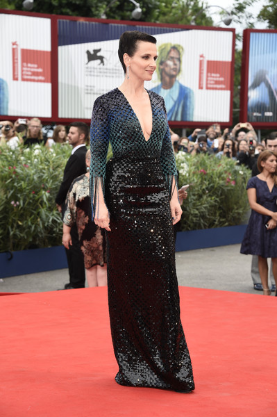 'The Wait' Premiere - 72nd Venice Film Festival [the wait,red carpet,carpet,clothing,flooring,dress,fashion,premiere,event,kimono,neck,juliette binoche,venice,italy,palazzo del casino,venice film festival,the wait premiere,premiere]