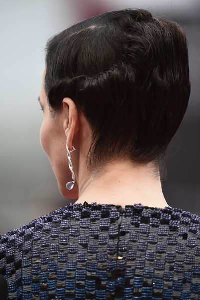 'The Wait' Premiere - 72nd Venice Film Festival [the wait,hair,hairstyle,neck,beauty,chin,chignon,black hair,fashion,bun,ear,juliette binoche,venice,italy,palazzo del casino,venice film festival,the wait premiere,premiere]
