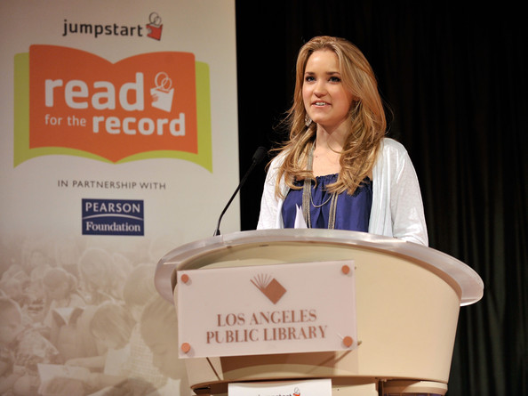 Actress Emily Osment speaks at Jumpstart?s Read for the Record at the LA Public Library on October 8, 2009 in Los Angeles, California.