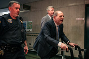 Movie producer Harvey Weinstein (R) enters New York City Criminal Court on February 24, 2020 in New York City. Jury deliberations in the high-profile trial are believed to be nearing a close, with a verdict on Weinstein's numerous rape and sexual misconduct charges expected in the coming days.