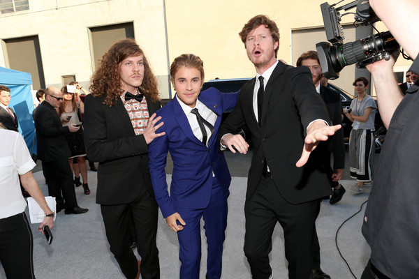 The Comedy Central Roast Of Justin Bieber - Backstage And Audience [comedy central roast,event,suit,white-collar worker,formal wear,premiere,justin bieber,blake anderson,anders holm,audience,honoree,l-r,backstage,los angeles,california]