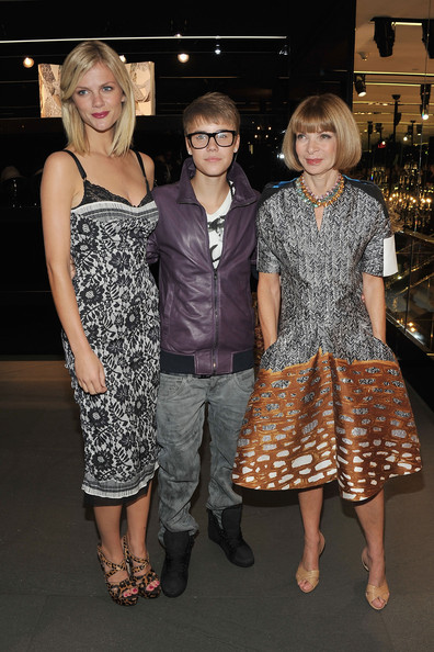 Justin Bieber (Brooklyn Decker, Justin Bieber and Anna Wintour attend the Dolce & Gabbana celebration during Fashion's Night Out at Dolce & Gabbana Boutique on September 8, 2011 in New York City.