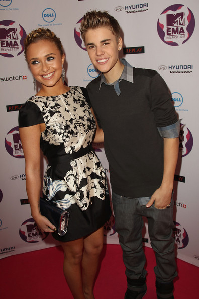 Justin Bieber Singer Justin Bieber and actress Hayden Panettiere attend the MTV Europe Music Awards 2011 at the Odyssey Arena on November 6, 2011 in Belfast, Northern Ireland.