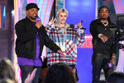 "Sway, Justin Bieber and Quavo appear onstage at MTV's ""Fresh Out Live"" on February 07, 2020 in New York City."