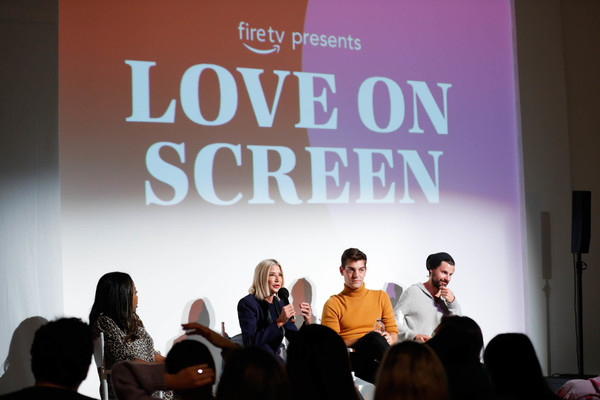 Fire TV Presents: Love on Screen Panel And Screening Event At 'The Museum of Modern Love' [fire tv presents: love on screen panel screening event,the museum of modern love,text,youth,event,community,font,fashion,convention,design,adaptation,academic conference,matt rogers,candace bushnell,sade strehlke,justin mcleod,l-r,museum of modern love,new york city]
