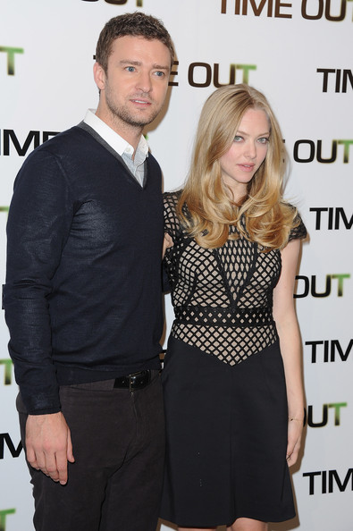 'Time Out' Paris Photocall At Hotel Bristol [time out,paris photocall,dress,suit,little black dress,event,premiere,formal wear,cocktail dress,white-collar worker,style,tuxedo,r,amanda seyfried,justin timberlake,hotel bristol,paris,france,photocall]
