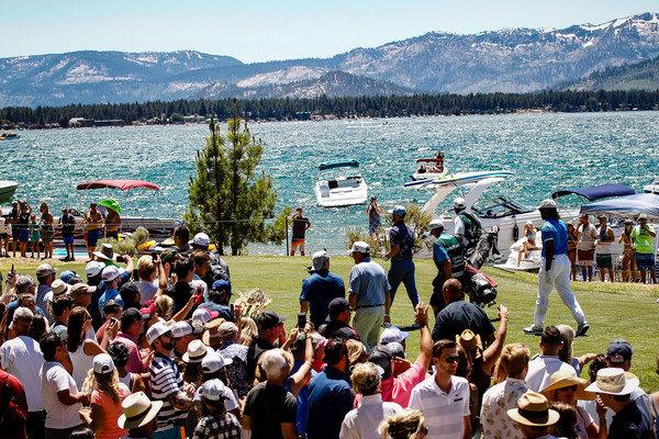 American Century Championship - Final Round [crowd,people,tourism,youth,mountain,community,tree,mountain range,event,lake,stateline,nevada,edgewood tahoe golf course,american century championship,round,justin timberlake,larry fitzgerald]