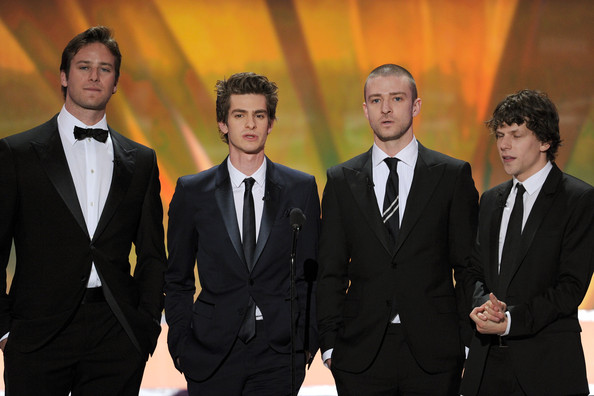 17th Annual Screen Actors Guild Awards - Show [suit,formal wear,tuxedo,event,white-collar worker,presenters,jesse eisenberg,justin timberlake,andrew garfield,armie hammer,l-r,the shrine auditorium,los angeles,screen actors guild awards,show]