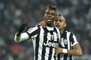 Paul Pogba (L) of Juventus FC reacts during the Serie A match between Juventus FC and FC Internazionale Milano at Juventus Arena on January 6, 2015 in Turin, Italy.