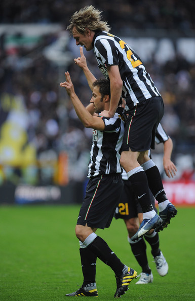 Alessandro Del Piero (L) of Juventus FC celebrates his goal with Milos Krasic during the Serie A match between Juventus FC and US Lecce at Olimpico Stadium on October 17, 2010 in Turin, Italy.