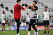 Wojciech Szczesny of Juventus and Gianluigi Buffon of Juventus speak during the warm up prior to the UEFA Champions League round of 16 second leg match between Juventus and Olympique Lyon at Allianz Stadium on August 07, 2020 in Turin, Italy.