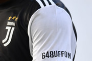 A detail of the commemorative shirt for the 648 matches in Serie A of Gianluigi Buffon during the Serie A match between Juventus and Torino FC at Allianz Stadium on July 4, 2020 in Turin, Italy.