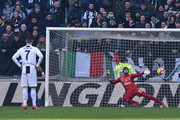 Fabio Quagliarella of Sampdoria scores a penalty to equalize during the Serie A match between Juventus and UC Sampdoria on December 29, 2018 in Turin, Italy.