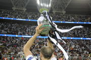 Giorgio Chiellini of Juventus celebrates after winning the Italian Supercup match between Juventus and AC Milan at King Abdullah Sports City on January 16, 2019 in Jeddah, Saudi Arabia.