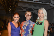 Actress Toni Trucks and designers Nikki Poulos and Ulyana Bezeruk attend the K. Nicole fashion show during Mercedes-Benz Fashion Week Spring 2015 at Pier 59 on September 11, 2014 in New York City.