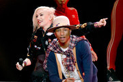 Recording artists Gwen Stefani (L) and Pharrell Williams perform onstage during KIIS FM's Jingle Ball 2014  powered by LINE at Staples Center on December 5, 2014 in Los Angeles, California.
