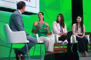 Dan Hicks of NBC Sports chats with Olympians (L-R) Nancy Kerrigan, Hilary Knight and Maria Shibutani on stage during the KPMG Women's Leadership Summit prior to the start of the KPMG Women's PGA Championship at Kemper Lakes Golf Club on June 27, 2018 in Kildeer, Illinois.