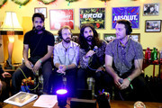 (L-R) KROQ Radio Host Kevin Ryder interviews Sameer Gadhia, Jacob Tilley, Payam Doostzadeh and Francois Comtois of Young the Giant during an interview at KROQ Absolut Almost Acoustic Christmas at The Forum on December 9, 2018 in Inglewood, California.