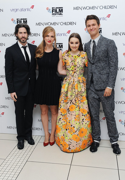 'Men, Women & Children' Premieres in London [premiere,event,fashion,carpet,flooring,suit,red carpet,smile,formal wear,award,jason reitman,helen estabrook,ansel elgort,kaitlyn dever,london,odeon covent garden,england,men women children premieres,paramount pictures,european premiere]