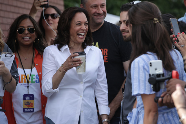 Presidential Candidates Descend Upon The Iowa State Fair [people,product,event,youth,crowd,recreation,smile,party,tourism,leisure,kamala harris,candidates,douglas emhoff,maya harris,campaign speech,u.s.,iowa,democratic,iowa state fair,fair]