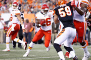 C.J. Spiller #26  of the Kansas City Chiefs runs with the ball against the Cincinnati Bengals during the preseason game at Paul Brown Stadium on August 19, 2017 in Cincinnati, Ohio.