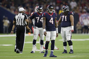 Deshaun Watson #4 of the Houston Texans reacts after a pentalty in the second quarter against the Kansas City Chiefs at NRG Stadium on October 8, 2017 in Houston, Texas.