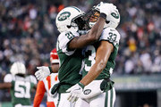 Morris Claiborne #21 and Jamal Adams #33 of the New York Jets celebrate in the fourth quarter against the Kansas City Chiefs on December 03, 2017 at MetLife Stadium in East Rutherford, New Jersey.The New York Jets defeated the Kansas City Chiefs  38-31.