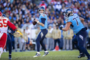 Ryan Tannehill #17 of the Tennessee Titans drops back to pass during the second half of a game against the Kansas City Chiefs at Nissan Stadium on November 10, 2019 in Nashville, Tennessee.  The Titans defeated the Chiefs 35-32.