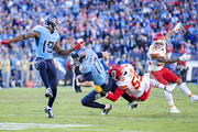 Ryan Tannehill #17 of the Tennessee Titans is tackled in the second half by Frank Clark #55 of the Kansas City Chiefs at Nissan Stadium on November 10, 2019 in Nashville, Tennessee.  The Titans defeated the Chiefs 35-32.