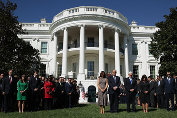 Karen Pence President Trump and First Lady Melania Trump Hold Moment of Silence for Victims of Las Vegas Shooting