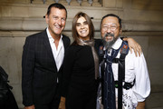 "(L-R) Pier Paolo Righi, Carine Roitfeld and Takashi Murakami attend the ""Tribute to the Karl Lagerfeld: The White Shirt Project"" exhibition as part of Paris Fashion Week in Paris on September 25, 2019."