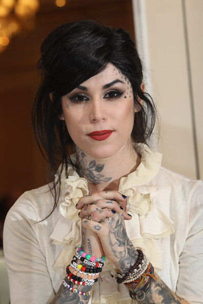 Kat Von D Tatoo artist Kat Von D presents her latest book 'The Tattoo Chronicles' at the Regent Hotel on December 6, 2010 in Berlin, Germany.