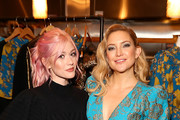 Katherine McNamara and Kate Hudson attend a cocktail event to celebrate Happy X Nature Eco-Evening Collection hosted by Kate Hudson at The Butcher's Daughter on December 12, 2019 in Venice, California.