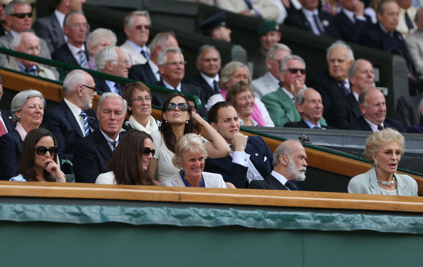 The Championships - Wimbledon 2012: Day Thirteen [people,audience,event,crowd,parliament,official,government,team,michael of kent,frederick windsor,princess,pippa middleton,front l-r,duchess,wimbledon,gill brook,wimbledon lawn tennis championships,match]