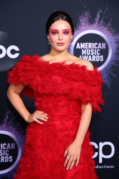 2019 American Music Awards - Arrivals [clothing,red,shoulder,dress,fashion,fashion model,joint,carpet,cocktail dress,flooring,arrivals,katherine langford,american music awards,microsoft theater,los angeles,california]