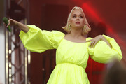 Katy Perry performs on March 11, 2020 in Bright, Australia. The free Fight On concert was held for for firefighters and communities recently affected by the devastating bushfires in Victoria.
