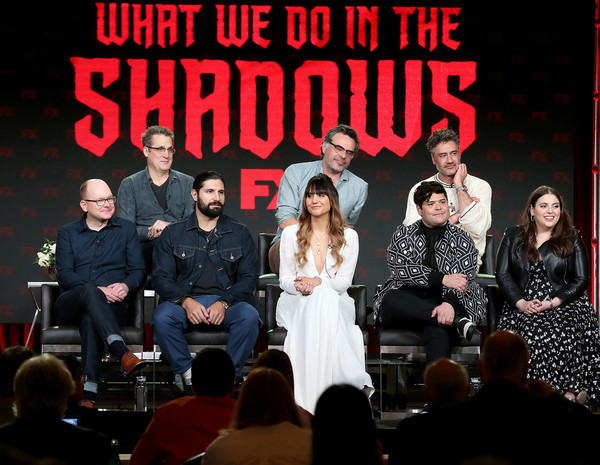 2019 Winter TCA Tour - Day 7 [television show,performance,event,stage,music,talent show,musical,font,performing arts,musical ensemble,musical theatre,kayvan novak,harvey guillen,natasia demetriou,mark proksch,paul simms,l-r,back row,pasadena,winter tca]
