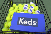 Tennis balls with Keds branding on display as Keds celebrates International Women's Day with Violetta Komyshan at Manhattan Plaza Racquet Club on March 8, 2018 in New York City.