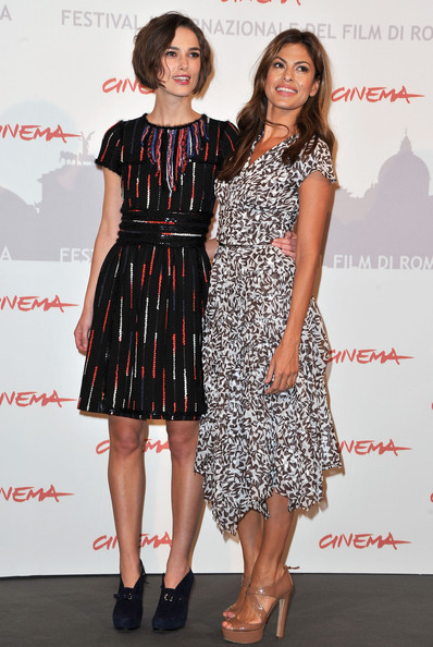 "Keira Knightley Actresses Keira Knightley (L) and Eva Mendes pose at the ""Last Night"" photocall during The 5th International Rome Film Festival at Auditorium Parco Della Musica on October 28, 2010 in Rome, Italy."