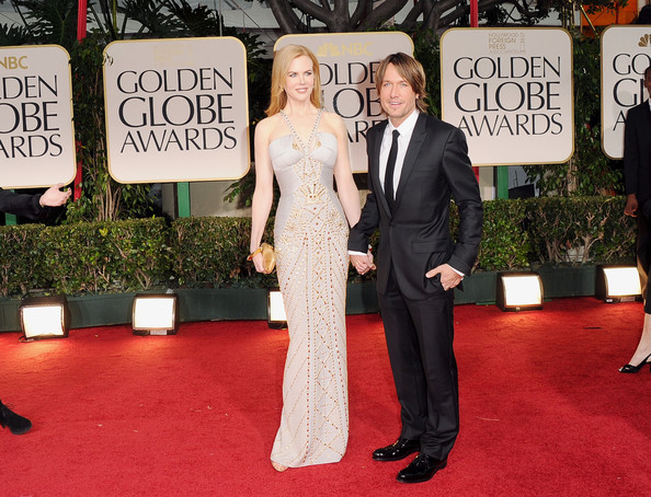 69th Annual Golden Globe Awards - Arrivals [red carpet,carpet,flooring,suit,event,formal wear,premiere,tuxedo,dress,arrivals,nicole kidman,keith urban,beverly hills,california,beverly hilton hotel,golden globe awards,69th annual golden globe awards]